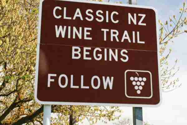 wine trail road sign
